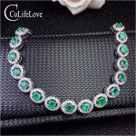 Classic 925 <b>silver</b> emerald wedding bracelet 3 mm round emerald bracelet for party <b>sterling</b> <b>silver</b> emerald fine <b>jewelry</b>