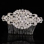 Stunning <b>Art</b> <b>Deco</b> Silver Clear Rhinestones Crystals Flower Wedding Hair Comb Bridal Hair Accessories Bridesmaids Women <b>Jewelry</b>