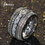 Bamos Luxury Cubic Zirconia Promise Ring White Gold Filled Big Engagement Rings For Women Fashion Wedding <b>Jewelry</b> <b>Accessories</b>
