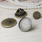 100pcs 10mm,12mm,14mm,16mm,18mm,20mm Flat Pad Brooches <b>Antique</b> Bronze vintage cabochon pin base blank setting handmade <b>jewelry</b>