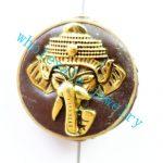 (Min. Order $10)3pcs/lot Nepal Tibetan Type Manual <b>Antique</b> Bead, Flat Round Brass Embed Imitation Turquoises H662798 28x8mm