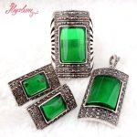 Rectangle Green CZ Crystal Beads <b>Antiqued</b> Tibetan Silver Classical Fashion Style Female Short <b>Jewelry</b>,Free Shipping