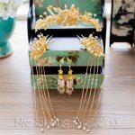 2018 NEW HOT Pink Crystal Bridal Wedding Hairwear Vintage Chinese Wedding Tiaras Ancient Princess Hair Stick <b>Accessories</b>