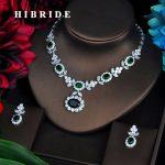 HIBRIDE Luxury Green CZ <b>Jewelry</b> Sets For Women Pendant Set Bijoux Femme <b>Accessories</b> Flower Design <b>Jewelry</b> Gifts N-574