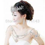 New Fashion Bride <b>Jewelry</b> vintage Wedding <b>Accessories</b> Bridal Shoulder Chain big Necklace crystal shoulder strap