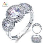 Peacock Star <b>Art</b> <b>Deco</b> 2.5 Carat Solid 925 Sterling Silver Wedding Engagement Ring <b>Jewelry</b> CFR8089