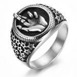 Titanium Stainless Steel Man Signet Ring Finger <b>Antique</b> Silver Punk Rock Hip Hop Biker Band Male Vintage <b>Jewelry</b> QMHJE DAR313