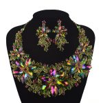 Statement Necklace Set Wedding Party rhinestone <b>Jewelry</b> set For Brides Dress <b>Jewelry</b> <b>Accessories</b> Green AB color Necklace earring