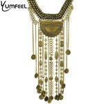 N1828 New Ethnic <b>jewelry</b> Long Tassel Caving Beads coin statement necklace <b>antique</b> silver and gold color Long Tassel Necklaces