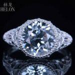 HELON 10mm Cushion Pave White Topaz Fashion Engagement Wedding Diamond Sets Ring 14K White Gold Fashion <b>Art</b> <b>Deco</b> Women's <b>Jewelry</b>