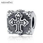 Authentic 925 Sterling Silver Bead Charm <b>Antique</b> Cross Bible Beads Fit Pandora Bracelets & Bangles DIY Women <b>Jewelry</b> Marking