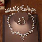 Jonnafe Gold Branch Pearls Tiara Necklace Earrings Wedding <b>Jewelry</b> Set Handmade Bridal <b>Accessories</b> Women <b>Jewelry</b> Sets