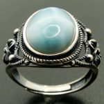 Natural Larimar Rings 925 Sterling Silver <b>Jewelry</b> <b>Antique</b> Designs Larimar Wedding Rings for Men and Women Adjustable Ring Size