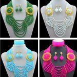 Nigerian Wedding African Beads <b>Jewelry</b> Sets Vintage Crystal Flowers Statement Necklace and Earring Set for Women <b>Accessories</b>