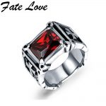 Fate Love Luxury Big Black/Red Precious Stones <b>Antique</b> Stainless Steel Ring Men <b>Jewelry</b> Gift Retro Cross Texture Engraving FL470