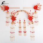 Red Chinese Wedding Bridal Hair <b>Jewelry</b> Set <b>Accessories</b> Princess Queen Floral Hairpins Hair Combs Headdress Bridal Hair Sticks