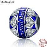 INBEAUT 925 Sterling Silver Blue Lovely Heart Zircon Stone Charm Women <b>Antique</b> Wedding Chain Beads fit Pandora Bracelet <b>Jewelry</b>