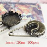 Free Shipping 100pcs/lot Copper <b>Antique</b> Bronze Crown Brooches fit: 20mm/15mm Cameo Cabochon Base Setting