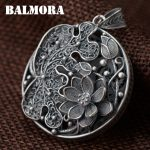 BALMORA 990 Pure Silver Vintage Flower Hollow Pendants for Women Lover Necklace <b>Accessories</b> <b>Jewelry</b> Gift Without a Chain SY13507