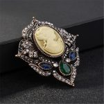 Fashion Antique Gold Vintage Brooch Pins Female Brand <b>Jewelry</b> Rhinestone Queen Cameo Brooches For Women <b>Art</b> <b>Deco</b> Pin