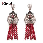 Kinel Exaggeration Red Natural Stone Tassel Earrings For Women Ethnic Style <b>Antique</b> Gold Crystal Bridal Vintage Wedding <b>Jewelry</b>