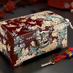Christmas Birthday wedding High-grade gift BEST present -Retro TOP Hand carving wood Inlay shells <b>Jewelry</b> Lacquer Box