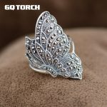 GQTORCH 925 Sterling Silver Butterfly Rings For Women Vintage Marcasite Style <b>Antique</b> Thai Silver Fine <b>Jewelry</b> Anillos Mujer
