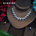 HIBRIDE Blue Rhinestone Wedding <b>Jewelry</b> Sets For Women Pendant Set Dress <b>Accessories</b> Necklace Set Engagement <b>Jewelry</b> N-583