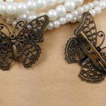 50pcs/lot 25mm Butterfly <b>Antique</b> Bronze vintage cabochon brooches pin base blank settings diy handmade <b>jewelry</b>/Garment