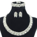 Dubai New Fashion Silver <b>Jewelry</b> Set Crystal Necklace Earrings Ring Bracelet <b>Jewelry</b> Classic African Bride Wedding <b>Accessories</b>