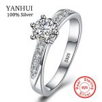 YANHUI Real Natural Solid 925 Silver Engagement Rings 6mm Cubic Zirconia Wedding <b>Jewelry</b> <b>Accessories</b> Gift Rings for Women ZR048