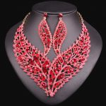 Fashion Wedding <b>Jewelry</b> Sets Leaf Necklace Earrings Set Party Wedding Engagement Jewellery for Bridemaid Costume <b>Accessories</b>