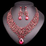 Fashion Crystal Necklace Earring Sets Vintage Bridal <b>Jewelry</b> Sets Red Rhinestone Party Wedding Prom Costume <b>Accessories</b> Women