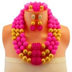 <b>Jewelry</b> Sets Women Wedding Gold Color Rose Crystal Dress <b>Accessories</b> African Beads Maxi Necklace Earrings Set