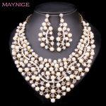 Fashion Pearl Statement Necklace Earrings set Bridal <b>Jewelry</b> Sets Bride Beads Jewellery Wedding Prom Dress Costume <b>Accessories</b>