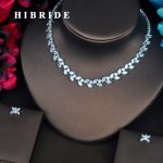 HIBRIDE Luxury New Pendant Marquise Cut CZ Pave Women <b>Jewelry</b> Sets Necklace Sets Dress <b>Accessories</b> Wholesale Price N-403