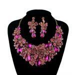 New Bridal Wedding jewellery set statement necklace earring Fuchsia Pink Rhinestone Crystal <b>Jewelry</b> Women Party <b>Accessories</b>