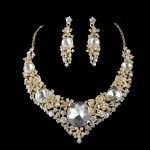 Luxurious Women crystal <b>jewelry</b> sets bridal wedding necklace earrings golden plated Party <b>Jewelry</b> <b>accessories</b> for brides