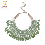 <b>Antique</b> green acrylic bead necklace with gold chain multi-layer choker necklace bib necklace statement necklace costume <b>jewelry</b>