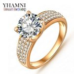 Big Promotion!!! Fashion 24K Gold Filled Wedding Rings For Women Engagement <b>Jewelry</b> Vintage Ring Zirconia <b>Accessories</b> BKJZ018