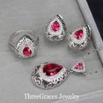 ThreeGraces Vintage Water Drop Women Party <b>Accessories</b> 925 Sterling Silver <b>Jewelry</b> Set With Red Austrian Crystal JS196