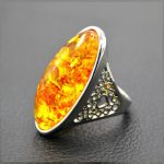 Baltic Ambers Rings for Unisex Stunning Genuine Natural beeswax Stone Trendy <b>Antique</b> Silver <b>Jewelry</b> Punk Wedding Rings