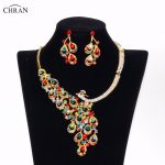 Chran Women Wedding Gold color Peacock Necklaces Earrings <b>Jewelry</b> Sets Party Holiday <b>Accessories</b> Bridal Jewellery Sets CRJS164