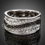 Jenia Brand Unisex White Gold Color Rhinestone Pave Ring <b>Antique</b> Design Champion <b>Jewelry</b> XR062