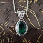 The new silver S925 silver <b>jewelry</b> exotic fashion exquisite <b>antique</b> green crystal pendant pendant female models