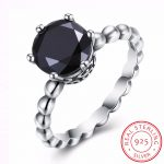 Real 925 Sterling Silver <b>Jewelry</b> Black Zircon Rhinestone Ring Wedding <b>Antique</b> Rings for Women Engagement With Stone Party Gift