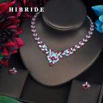 HIBRIDE Luxury Red Flower Wreath Shape Cubic Zircon <b>Jewelry</b> Set For Women Bride Necklace Set Wedding <b>Accessories</b> Wholesale N-479