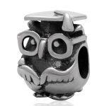 925 <b>Antique</b> Sterling Silver Animal Charms Graduation Study Owl Beads fit DIY Chamilia Style Snake Chain Bracelet <b>Jewelry</b>