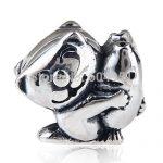 European <b>Antique</b> 925 Sterling Silver Cat Hugging Fish Charm Beads Compatible DIY Bracelets <b>Jewelry</b>