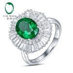Caimao <b>Jewelry</b> <b>Antique</b> 14k Gold 2.24ct Natural Emerald Diamonda Ring